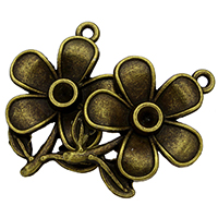 Zinc Alloy Pendant Rhinestone Setting Flower antique bronze color plated nickel lead   cadmium free 20x28x3mm Hole:Approx 1.5mm Inner Diameter:Approx 3mm 500PCs/Lot