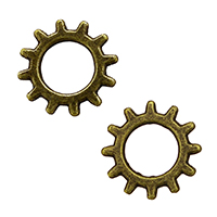 Zinc Alloy Linking Ring Gear Wheel antique bronze color plated nickel lead   cadmium free 12x12x1mm Hole:Approx 6mm 2000PCs/Lot