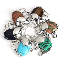 Gemstone Pendants Jewelry with Brass Elephant platinum color plated natural   different materials for choice nickel lead   cadmium free 36.50x30.50x10mm Hole:Approx 5.5x9mm