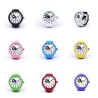 цинковый сплав Часы-кольцо, с Стеклянный, Другое покрытие, лак горячей сушки & с письмо узором, Много цветов для выбора, 22mm, размер:6-10, 10ПК/Лот, продается Лот