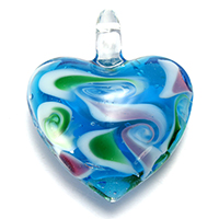 Fashion Lampwork Pendants, Heart, 38x40x16mm, Hole:Approx 6x7mm, 10PCs/Lot, Sold By Lot