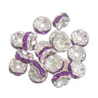 Iron Spacer Bead, platinum color plated, with rhinestone, lead & cadmium free, 7x3mm, Hole:Approx 1mm, 100PCs/Bag, Sold By Bag