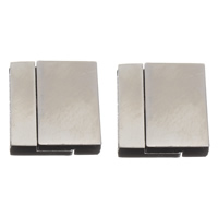 Brass Magnetic Clasp Rectangle platinum color plated nickel lead   cadmium free 21x23x6mm Hole:Approx 3x20mm 10PCs/Bag