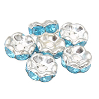 Iron Spacer Bead, Flower, silver color plated, with rhinestone, lead & cadmium free, 7x4mm, Hole:Approx 1mm, 100PCs/Bag, Sold By Bag