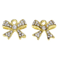 Zinc Alloy Bowknot Pendants, gold color plated, with rhinestone, lead & cadmium free, 16x14.50x4mm, Hole:Approx 2mm, 10PCs/Bag, Sold By Bag