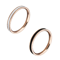 Enamel Stainless Steel Finger Ring rose gold color plated for woman 2.50mm US Ring Size:5.5 20PCs/Lot