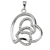 Stainless Steel Heart Pendants, with rhinestone, original color, 31x38x5mm, Hole:Approx 4.5x7.5mm, Sold By PC