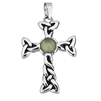 Natural Aventurine Pendants, Stainless Steel, with Green Aventurine, Cross, blacken, 28x42x6mm, Hole:Approx 4.5x7.5mm, Sold By PC