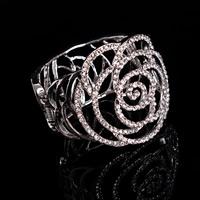 Свадебный браслет, цинковый сплав, Форма цветка, плакирован серебром, Для Bridal & со стразами, не содержит свинец и кадмий, 60mm, внутренний диаметр:Приблизительно 56mm, длина:Приблизительно 7 дюймовый, продается PC