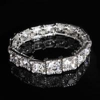 Свадебный браслет, цинковый сплав, с Кристаллы, Квадратная форма, Платиновое покрытие платиновым цвет, Для Bridal & граненый & со стразами, не содержит свинец и кадмий, 13mm, Продан через Приблизительно 7 дюймовый Strand