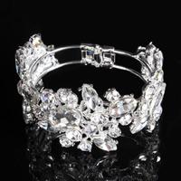 Свадебный браслет, цинковый сплав, с Кристаллы, Платиновое покрытие платиновым цвет, Для Bridal & граненый & со стразами, не содержит свинец и кадмий, 40mm, внутренний диаметр:Приблизительно 65mm, длина:Приблизительно 7.5 дюймовый, продается PC