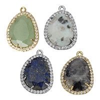 Gemstone Pendants Jewelry Brass with Gemstone Flat Oval plated natural   different materials for choice   micro pave cubic zirconia   faceted nickel lead   cadmium free 15.50x22.50x3mm Hole:Approx 1.5mm 5PCs/Lot