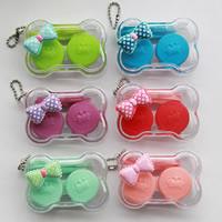 пластик Контактные линзы Case, с железный цепи, Бантик, Платиновое покрытие платиновым цвет, разноцветный, 65x40x24mm, 5ПК/сумка, продается сумка