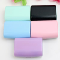 пластик Контактные линзы Case, с Стеклянный, Прямоугольная форма, разноцветный, 63x45x22mm, 5ПК/сумка, продается сумка