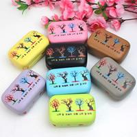 Искусственная кожа Контактные линзы Case, с Стеклянный & пластик, Прямоугольная форма, с вельвета покрытые, разноцветный, 85x55x22mm, 5ПК/сумка, продается сумка