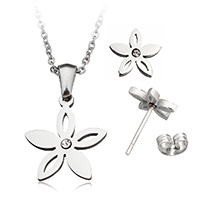 Fashion Stainless Steel Jewelry Sets, earring & necklace, Flower, oval chain & with rhinestone, original color, 16x18x2mm, 2x1.5x0.5mm, 10x9x12.5mm, Length:Approx 19.5 Inch, Sold By Set