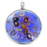 Fashion Lampwork Pendants, Zinc Alloy, with Lampwork, Flat Round, platinum color plated, gold sand, nickel, lead & cadmium free, 53x65x10mm, Hole:Approx 4mm, Sold By PC