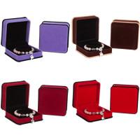 Pluszowe pudełko na bransoletkę, Welwet, ze klej Film, Kwadrat, dostępnych więcej kolorów, 95x95x50mm, 10komputery/wiele, sprzedane przez wiele