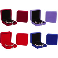 Velveteen Bracelet Box, with Glue Film, Square, more colors for choice, 90x90x40mm, 12PCs/Lot, Sold By Lot