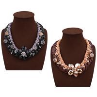 Мода себе ожерелье, шерстяной шнур, с Искусственная кожа & Кристаллы & цинковый сплав, с 3.9lnch наполнитель цепи, плакирован золотом, Женский & граненый, Много цветов для выбора, не содержит никель, свинец, 50mm, Продан через Приблизительно 18.1 дюймовый Strand