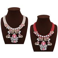 Мода себе ожерелье, Нейлоновый шнурок, с Кристаллы & канифоль & цинковый сплав, с 3.1lnch наполнитель цепи, плакирован золотом, Женский & граненый & со стразами, Много цветов для выбора, не содержит никель, свинец, 105mm, Продан через Приблизительно 18.1 дюймовый Strand