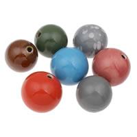 Koraliki porcelanowe European, Porcelana, Koło, Szkliwione, mieszane kolory, 40mm, otwór:około 5mm, 10komputery/torba, sprzedane przez torba