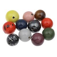 Фарфоровые бусины Европейская стиль, фарфор, Круглая, покрытый глазурью, разноцветный, 34mm, отверстие:Приблизительно 5mm, 10ПК/сумка, продается сумка
