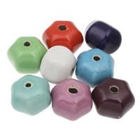 Фарфоровые бусины Европейская стиль, фарфор, Гексаграмма, покрытый глазурью, разноцветный, 37x27mm, отверстие:Приблизительно 5mm, 10ПК/сумка, продается сумка
