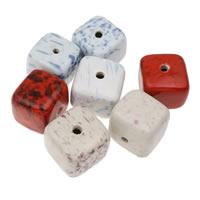 Koraliki porcelanowe European, Porcelana, Kostka, Szkliwione, mieszane kolory, 36x33mm, otwór:około 5mm, 10komputery/torba, sprzedane przez torba