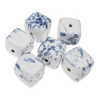 Koraliki porcelanowe European, Porcelana, Kostka, Szkliwione, mieszane wzór, niebieski, 36x32mm, otwór:około 5mm, 5komputery/torba, sprzedane przez torba
