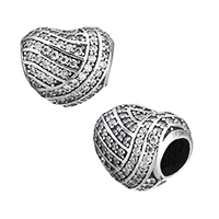 925 Sterling Silver European Beads Heart micro pave cubic zirconia   without troll 11x9.50x9mm Hole:Approx 4.5mm