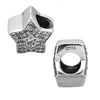 925 Sterling Zilver European Beads, micro pave zirconia & zonder troll, 11.50x11x8mm, Gat:Ca 5mm, Verkocht door PC