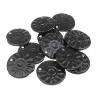 Porcelain Pendants, Flat Round, glazed, black, 42x6mm, Hole:Approx 3mm, 10PCs/Bag, Sold By Bag