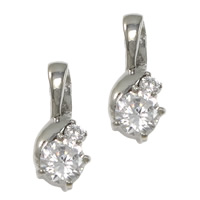 Cubic Zirconia Pendant, Stainless Steel, hand polished, with cubic zirconia, original color, 7.5x18x5mm, Hole:Approx 5x4mm, Sold By PC