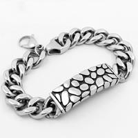 Men Bracelet, Titanium Steel, curb chain & for man & blacken, 40mm, Sold Per Approx 8.4 Inch Strand