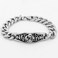 Men Bracelet, Titanium Steel, curb chain & for man & blacken, 41mm, Sold Per Approx 8.8 Inch Strand