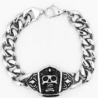 Men Bracelet, Titanium Steel, curb chain & for man & blacken, 52mm, Sold Per Approx 8.4 Inch Strand