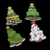 Рождественские Кабошоны, деревянный, Рождественская елка, принт, смешанная картина & Рождественские украшения & плоской задней панелью, 26x35x3mm, 1000ПК/сумка, продается сумка