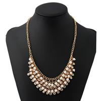 Модные ожерелья, цинковый сплав, с Стеклянный жемчуг, с 2lnch наполнитель цепи, плакирован золотом, твист овал & Женский & со стразами, не содержит никель, свинец, Продан через Приблизительно 15.7 дюймовый Strand