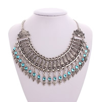 Акриловые ожерелья, цинковый сплав, с Акрил, с 2.8lnch наполнитель цепи, плакированный цветом под старое серебро, твист овал & Женский, не содержит никель, свинец, Продан через Приблизительно 19.5 дюймовый Strand
