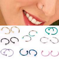 Biżuterii Piercing nosa ze stali nierdzewnej, Stal nierdzewna, Powlekane, różnej wielkości do wyboru, mieszane kolory, 5komputery/torba, sprzedane przez torba