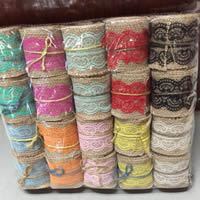 Linen Cord with Lace 60mm 2PCs/Lot 2m/Spool