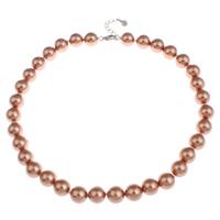 Ожерелье из ракушки, южноморская ракушка, латунь Замок-карабин, с 4cm наполнитель цепи, Круглая, Коричневый, 12mm, Продан через Приблизительно 17 дюймовый Strand