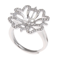 Brass Bezel Ring Base, Flower, platinum color plated, adjustable & micro pave cubic zirconia, nickel, lead & cadmium free, 21x23x19mm, Inner Diameter:Approx 3x1mm, US Ring Size:7.5, Sold By PC