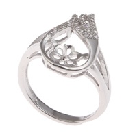 Brass Bezel Ring Base, platinum color plated, adjustable & micro pave cubic zirconia, nickel, lead & cadmium free, 21x23x20mm, Inner Diameter:Approx 3x1mm, US Ring Size:6.5, Sold By PC