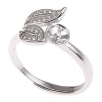 Brass Bezel Ring Base, Leaf, platinum color plated, adjustable & micro pave cubic zirconia, nickel, lead & cadmium free, 21x26x11mm, Inner Diameter:Approx 3x1mm, US Ring Size:6.5, Sold By PC