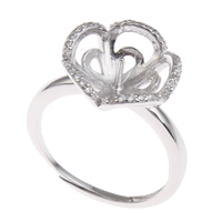 Brass Bezel Ring Base, Flower, platinum color plated, adjustable & micro pave cubic zirconia, nickel, lead & cadmium free, 21x26x14mm, Inner Diameter:Approx 3x1mm, US Ring Size:7.5, Sold By PC