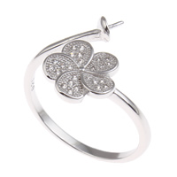 Brass Bezel Ring Base, Flower, platinum color plated, micro pave cubic zirconia, nickel, lead & cadmium free, 21x22x16mm, Inner Diameter:Approx 1x3mm, US Ring Size:7.5, Sold By PC
