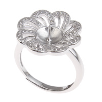 Brass Bezel Ring Base, Flower, platinum color plated, adjustable & micro pave cubic zirconia, nickel, lead & cadmium free, 20x23x18mm, Inner Diameter:Approx 3x1, 8mm, US Ring Size:6.5, Sold By PC