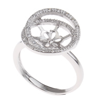 Brass Bezel Ring Base, platinum color plated, adjustable & micro pave cubic zirconia, nickel, lead & cadmium free, 20x25x16mm, Inner Diameter:Approx 3x1, 7mm, US Ring Size:7.5, Sold By PC